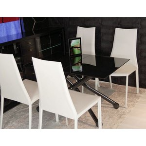 強化 黒ガラス 天板 伸長式 リフティングテーブル デザイナーズ チェア セット 昇降 伸長式テーブル イタリア製 テーブル 幅110〜150cm|banjo