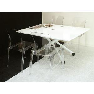 イタリア製 昇降 伸長式 テーブル Esprit ホワイト色 BK 高さ37〜82cm 無段階調節 天板が2倍接客テーブルと透明な椅子4脚セット|banjo