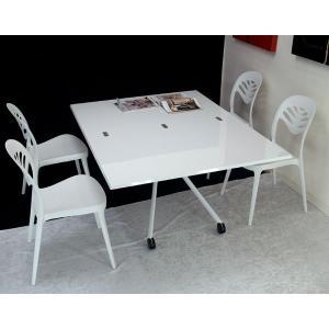 伸長式テーブルセット Esprit ホワイト色 BK 高さ 37〜82cm 無段階調節 天板が2倍接客テーブルとモダンチェア4脚セット|banjo