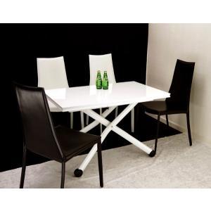 イタリア製 昇降 伸長式 テーブル Esprit ホワイト色 BK 高さ37〜82cm 無段階 調節 天板が2倍接客テーブルとモダンチェア4脚 セット|banjo