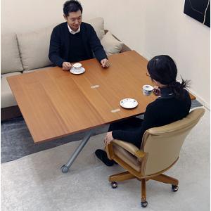 イタリア製 伸長式 リフティング テーブル Esprit チェリー色 高さ 37〜82cm 無段階調節 昇降 ダイニングテーブル 天板70~140cm 伸張 テーブル|banjo