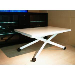 [イタリア製昇降伸長式リフティングテーブルEsprit/ホワイト色/BK]高さ37〜82cm無段階調節/白い伸長式リフティングテーブル/天板が2倍に伸張伸縮テーブル|banjo