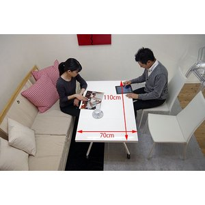 [イタリア製昇降伸長式リフティングテーブルEsprit/ホワイト色/BK]高さ37〜82cm無段階調節/白い伸長式リフティングテーブル/天板が2倍に伸張伸縮テーブル|banjo|02