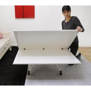 [イタリア製昇降伸長式リフティングテーブルEsprit/ホワイト色/BK]高さ37〜82cm無段階調節/白い伸長式リフティングテーブル/天板が2倍に伸張伸縮テーブル|banjo|03