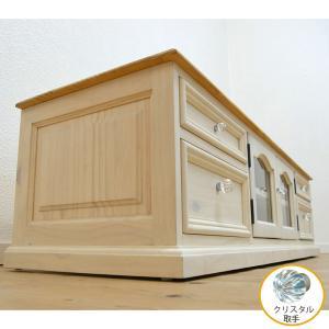 フレンチカントリーローテレビボード/幅150cm(1m50cm)パインローテレビ台[白い木製ローテレビボード/クリスタルガラス取っ手/ミルキーホワイト色]|banjo