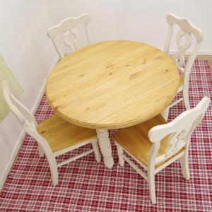 白い丸テーブル/フレンチカントリーパインダイニングテーブルセット/DT-Lacko/4人用食卓セット/110cm丸カントリーパイン食卓テーブル/ホワイト色木製丸テーブル|banjo