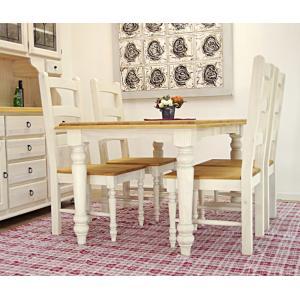 ホワイト(白)色のカントリーパイン4人掛けダイニングテーブルセット/4人用食卓セット/オイル仕上げカントリーパイン食卓テーブル/幅140cm/高さ約72cm|banjo