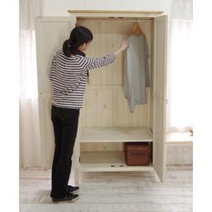 [白いカントリーワードローブ]フレンチカントリー巾100cm洋服掛け/洋服吊り/クローゼット/ミルキーホワイト色|banjo