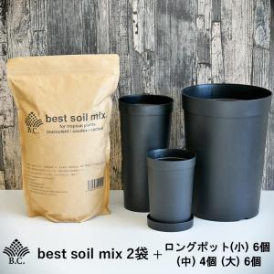 観葉植物用培養土 BC best soil mix 2袋 + ロングポット(小) 6個  (中) 4個 (大) 6個 バンクスコレクション bankscollection