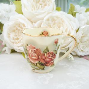 マグカップ おしゃれ プレゼント 葉型 薔薇 ローズ 花柄 ゴールドローズ barazakkawithheart
