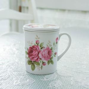 マグカップ おしゃれ プレゼント 蓋付き 茶漉し 薔薇 ローズ 花柄 ハーブティー ラレーヌデローズ barazakkawithheart