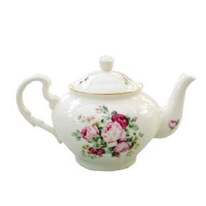 ティーポット 茶こし付き パンセアラローズ クラシカルローズ 薔薇 おしゃれ|barazakkawithheart