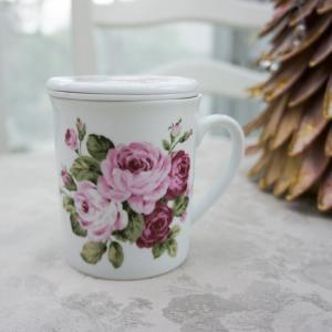 マグカップ おしゃれ プレゼント 蓋付き 茶漉し付き 陶器 薔薇 ローズ 花柄 アニバーサリーローズ barazakkawithheart