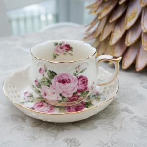 ティーカップ&ソーサー  おしゃれ レース 薔薇 ピンク アニバーサリーローズ barazakkawithheart
