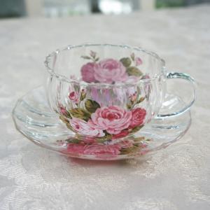 ティーカップ&ソーサー 耐熱 透明 おしゃれ ガラス モール アニバーサリーローズ barazakkawithheart