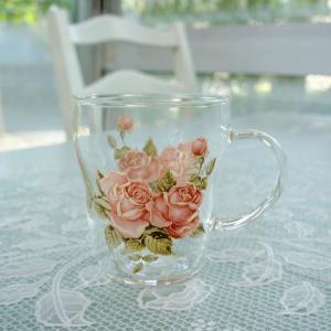 マグカップ 耐熱ガラス  おしゃれ プレゼント  薔薇 ローズ ゴールドローズ 日本製 barazakkawithheart