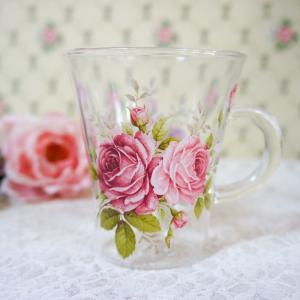 耐熱ガラス マグカップ おしゃれ プレゼント薔薇 ローズ ラレーヌデローズ barazakkawithheart