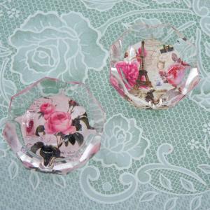 ガラス灰皿 ローズ 薔薇 小ぶり 小さい おしゃれ  かわいい ローズ切手 エッフェル