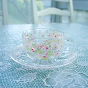 カップ&ソーサー ティーカップ 耐熱ガラス ロゼダンジュ ハーブティー 薔薇 花柄 ローズ かわいい