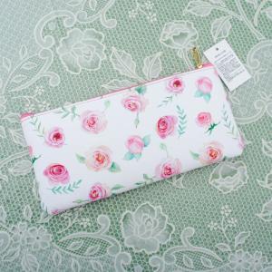横長フラットポーチ ピンクローズ  花柄 フラワー 薔薇 かわいい おしゃれ 化粧ポーチ|barazakkawithheart