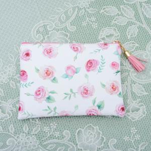 フラットポーチ ピンクローズ タッセル付き 花柄 フラワー 薔薇 かわいい おしゃれ 化粧ポーチ|barazakkawithheart