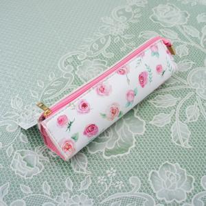 ペンポーチ ピンクローズ  花柄 フラワー 薔薇 かわいい おしゃれ 化粧ポーチ|barazakkawithheart