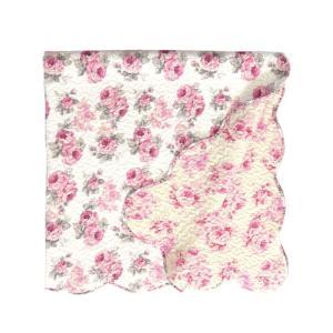 マルチカバー キルト 約130cm×130cm Mサイズ 正方形 ルーシー ローズ 薔薇 花柄 かわいい ピンク マット|barazakkawithheart