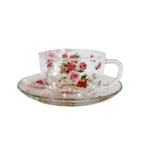 カップ&ソーサー ティーカップ 耐熱ガラス ローズヴィーナス 薔薇 花柄 ローズ ガラス製 かわいい