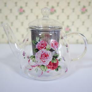 耐熱ガラスティーポット ローズヴィーナス ロマンチック おしゃれ 薔薇 かわいい ハーブティーに|barazakkawithheart