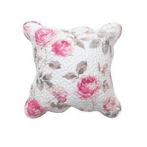 クッションカバー キルト 45cm×45cm テイラー ローズ 薔薇 花柄 かわいい ピンク カバーのみ barazakkawithheart