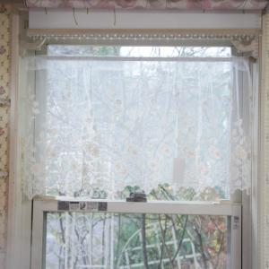 カフェカーテン レース コットンフラワー 45cm丈 45×120cm おしゃれ 刺繍 目隠し 小窓|barazakkawithheart