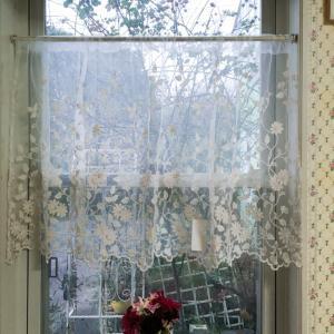 カフェカーテン レース コットンフラワー 60cm丈 60×120cm おしゃれ 刺繍 目隠し 小窓|barazakkawithheart
