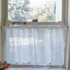 カフェカーテン コットン刺繍 レース 45cm丈 45×120cm おしゃれ 目隠し かわいい 薔薇雑貨|barazakkawithheart