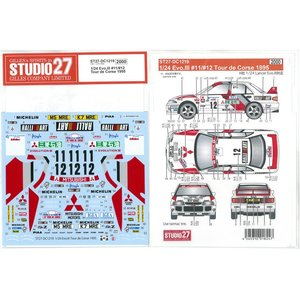 1/24 Lancer Evo.III #11/#12 Tour de Corse 1995(for H社1/24)【スタジオ27デカール DC1219】|barchetta