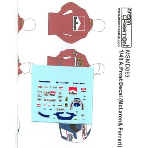 1/43 A.プロスト フィギュア用デカール(マクラーレン&フェラーリ)【MSMクリエーション】|barchetta