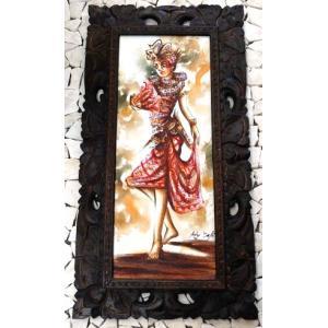 バリ絵画 木枠付 踊る女|baris