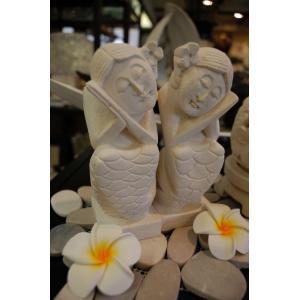 バリ島 石像 バリニーズ人魚 ペア オブジェ|baris