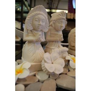 バリ島 石像 バリニーズ お花付き ペア オブジェ|baris