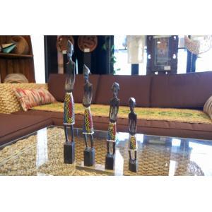バリ島 木彫り人形 4体セット オブジェ|baris