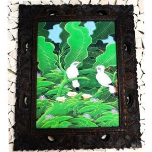 バリ絵画 木枠付 鳥|baris