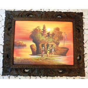 バリ絵画 木枠付 バリの風景|baris