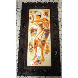 バリ絵画 木枠付 女人画|baris