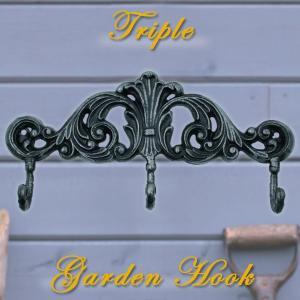 ガーデンフック トリプル(壁付け用ネジ付き)|baroness