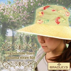 英国ブラッドリー(BRADLEYS) イングリッシュローズ リネンパナマストローハット(麦わら帽子) グリーン|baroness