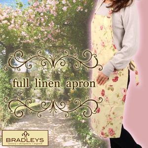 英国ブラッドリー(BRADLEYS) フルリネンエプロン ピンク リネン(亜麻)製|baroness