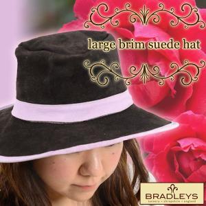 英国ブラッドリー(BLADLEYS) ラージブリム スエードハット ピンク|baroness