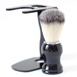 シェービング ブラシ 100% アナグマ 毛 スタンド付き 理容 洗顔 髭剃り マッサージ 送料無料|barsado2