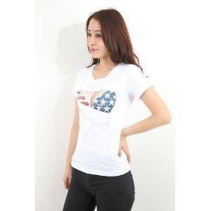 ネタT おっぱいTシャツ メンズ セクシー 3D  巨乳 Tシャツ アメリカ国旗 ハロウィン M/L/XL 送料無料|barsado2