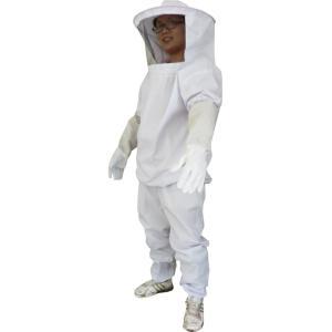 養蜂用 防護服 蜂防護服 上下服 フェイスネット 手袋 3点 セット / 蜂の巣 害虫 蜂 駆除 に【送料無料】|barsado2