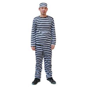 囚人服 ハロウィン コスプレ 衣装4点セット (帽子+上着+ズボン+手錠) コスチューム メンズ フリーサイズ 長袖【送料無料】|barsado2